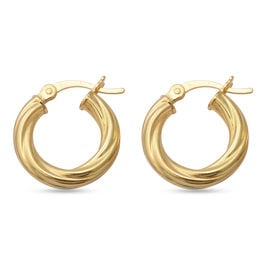 Yellow Gold Overlay Sterling Silver Hoop Earrings (with Clasp)