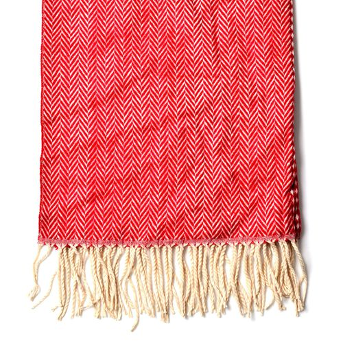 Red and White Colour Herringbone and Diamond Pattern Scarf with Long Tassels (Size 180x65 Cm)