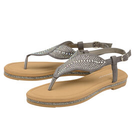 Dunlop Amy Toe Post Flat Sandals in Grey Colour