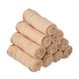 Set of 10 - 100%Egyptian Cotton Face Towel (Size:30x30Cm) - Beige