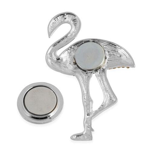 White and Black Austrian Crystal (Rnd) Flamingo Brooch