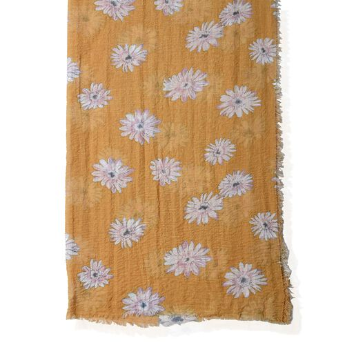 Mustard Colour Scarf with Chrysanthemum White Flower Pattern ( Size 180x90 Cm)
