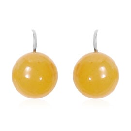 Honey Jade Bead Hook Earrings in Silver Tone 39.50 Ct.
