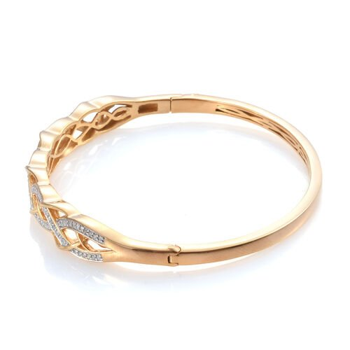 Diamond (Rnd) Bangle (Size 7.5) in 14K Gold Overlay Sterling Silver   0.500 Ct, Silver wt 17.50 Gms.