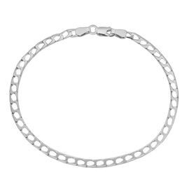 JCK Vegas Collection Rhodium Plated Sterling Silver Diamond Cut Square Curb Bracelet (Size 7.5)