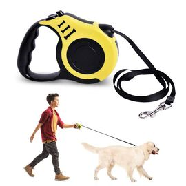 Retractable Dog Leash - Yellow (Rope Length: about 5m) (Size 10.5x3x23cm)