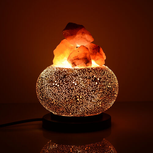 Home Decor- White Glass Table Lamp With  Himalayan Salt on a Metal Base with Electric Fitting