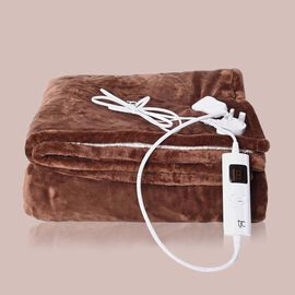 Deluxe Home Collection- Luxury Heated Sherpa Blanket with Controller & Overheat Protection, Hand Was