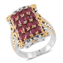 Designer Inspired - African Ruby (Ovl) Ring in Rhodium and 14K Gold Overlay Sterling Silver 5.000 Ct.