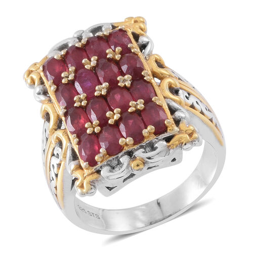 Designer Inspired - African Ruby (Ovl) Ring in Rhodium and 14K Gold Overlay Sterling Silver 5.000 Ct