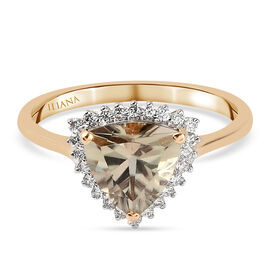 Monster Deal - ILIANA 18K Yellow Gold Extremely Rare Shape AAA Turkizite and Diamond (SI) Halo Ring