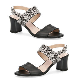 CAPRICE Animal Print Heel Sandals   - Black Leo