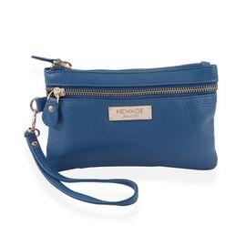 100% Genuine Leather Blue Colour Wristlet Pouch (Size 18.5x12 cm)