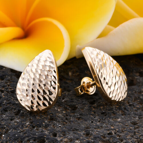 Royal Bali Collection- 9K Yellow Gold Diamond Cut Stud Earrings (with Push Back)