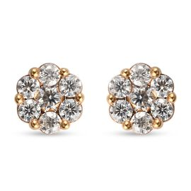 Moissanite Stud Pressure Set Stud Earrings (with Push Back) in 14K Gold Overlay Sterling Silver