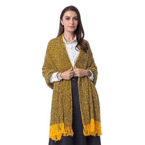 Designer Inspired-Mustard and Black Colour Blanket Shawl (Size 200x64 Cm)