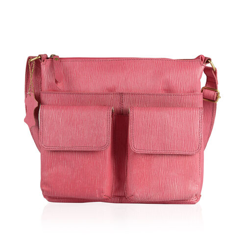 100% Genuine Leather RFID Blocker Pink Colour Sling Bag with External Pockets and Adjustable Shoulder Strap (Size 31X27.5X5 Cm)