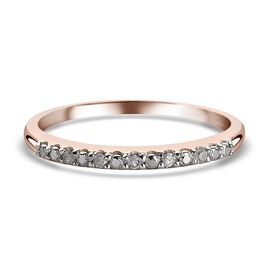 Diamond Half Eternity Ring in Rose Gold Sterling Silver Ring
