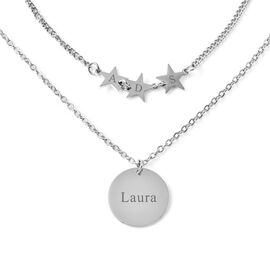 Personalised Engravable Disc & Star Steel Necklace, Size 15+2 Inch, Stainless Steel
