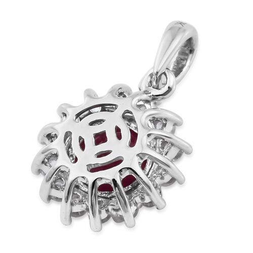 1.25 Ct AA African Ruby and Natural Cambodian Zircon Halo Pendant in 9K White Gold