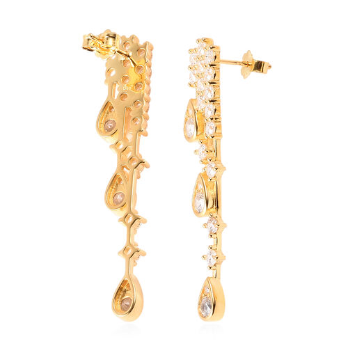 J Francis - Yellow Gold Overlay Sterling Silver Waterfall Earrings (with Push Back) Made with SWAROVSKI ZIRCONIA 2.91 Ct, Silver wt 5.56 Gms