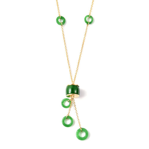 Green Jade Necklace (Size 18) in Yellow Gold Overlay Sterling Silver 17.00 Ct.