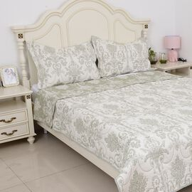 3 Piece Set -  Reversible Pique with Empire Jacquard Pattern Green (Size 260x240 Cm) and 2 Pillow Co