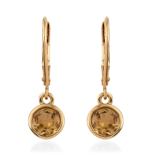 Citrine (Rnd) Sterling Silver Earring with Lever Back in 14K Yellow Gold Overlay Sterling Silver 1.250 Ct.