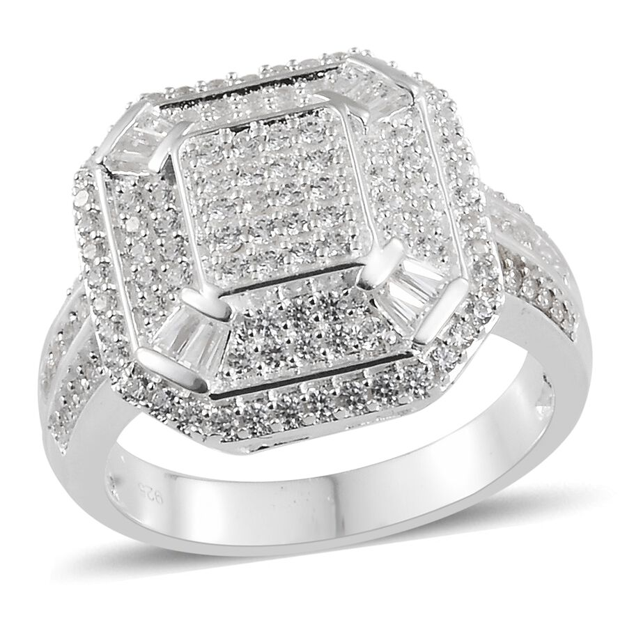 7f45157a7 J Francis - Sterling Silver (Rnd and Bgt) Cluster Ring Made with SWAROVSKI  ZIRCONIA ...