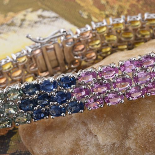 Sri LankanYellow Sapphire (11.30 Ct),Green Sapphire,Kanchanaburi Blue Sapphire,Madagascar Pink Sapphire,Orange Sapphire Platinum Overlay Sterling Silver Bracelet (Size 7.5)  31.750  Ct.