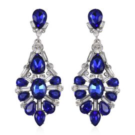Simulated Royal Blue Sapphire (Pear), White Austrian Crystal Earrings in Silver Tone