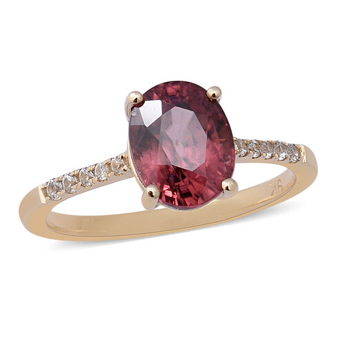 Tanzanian Rose Zircon and White Zircon Solitaire Ring in 9K Yellow Gold