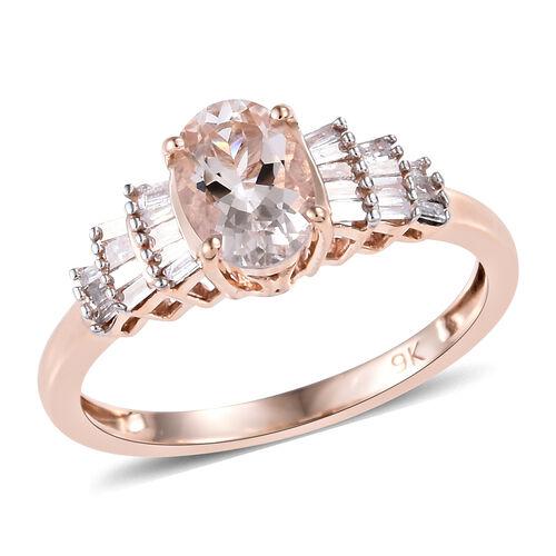 9K Rose Gold Marropino Morganite (Ovl 7x5 mm), Diamond Ring
