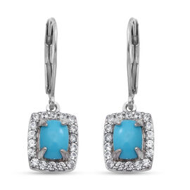 Arizona Sleeping Beauty Turquoise and Natural Cambodian Zircon Earrings in Rhodium Overlay Sterling