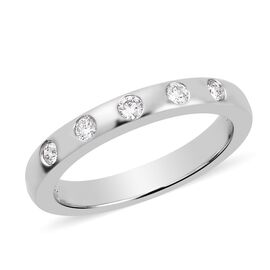RHAPSODY 0.15 Ct Diamond Flush Set Five Stone 3mm Band Ring 950 Platinum IGI Certified VS EF