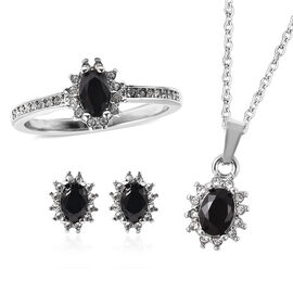 3 Piece Set - Black Spinel and White Austrian Crystal Ring, Earrings (with Push Back) & Pendant with