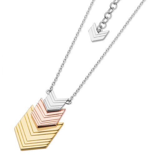 LucyQ Arrow Necklace (Size 18) in Tricolor Sterling Silver 8.60 Gms.