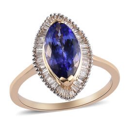 9K Yellow Gold AAA Tanzanite and Diamond Halo Ring 2.00 Ct.