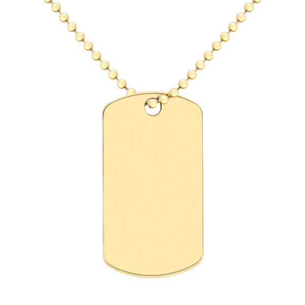Personalised 9CT Gold Dog Tag Pendant with Chain, Size 20 Inch