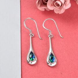 Sajen Silver ILLUMINATION Collection - Rainbow Pariba Doublet Quartz Fish Hook Earrings in Platinum Overlay Sterling Silver 1.95 Ct.