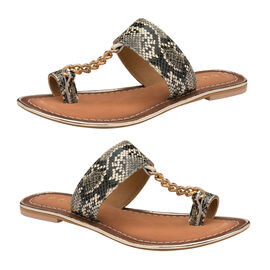 Ravel Snake-Print Taree Leather Mule Sandals in Off White and Black