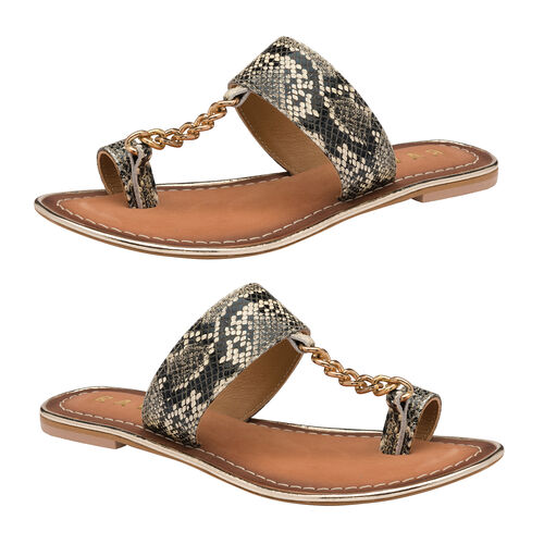 Ravel Snake-Print Taree Leather Mule Sandals (Size 5) - Off White and Black