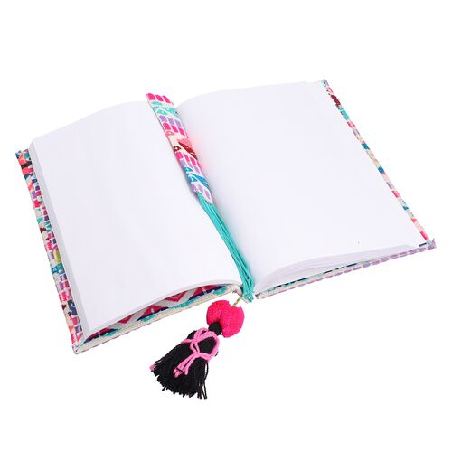Jacquard Knitted Fabric Cover Diary (21x15cm) with Matching Keychain and Bookmark - Multi Colour