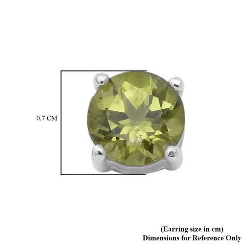 Hebei Peridot (Rnd) Stud Earrings (with Push Back) in Sterling Silver 1.840 Ct.