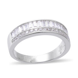 ELANZA Simulated Diamond (Bgt) Half Eternity Ring in Rhodium Overlay Sterling Silver