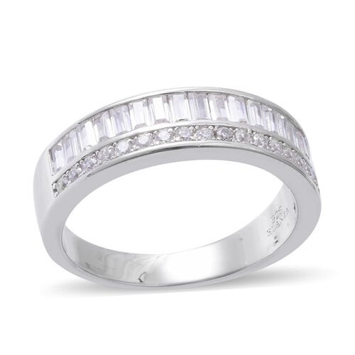 ELANZA Simulated Diamond (Bgt) Half Eternity Ring in Rhodium Overlay Sterling Silver