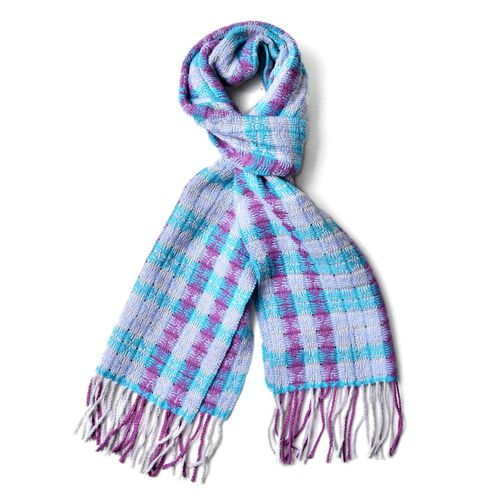 100% Wool Purple, Blue and Grey Colour Checks Pattern Scarf with Tassels (Size 180x30 Cm)