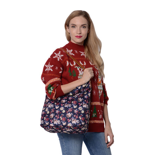 Floral Print Tote Bag with Zipper Closure (33x14x37cm) - Navy