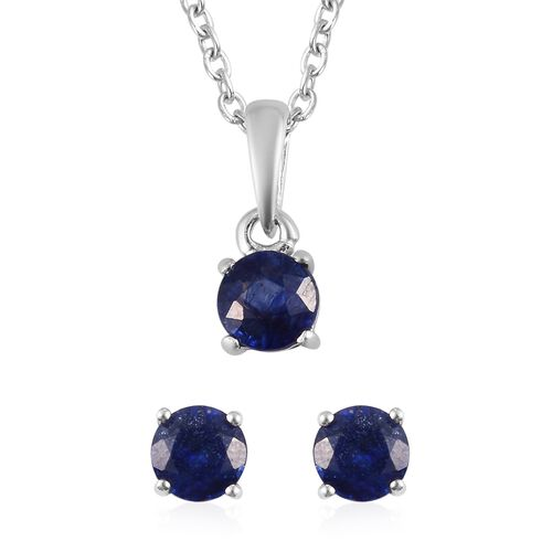 2 Piece Set - Masoala Sapphire Stud Earrings and Pendant with Chain (Size 18) in Platinum Overlay St