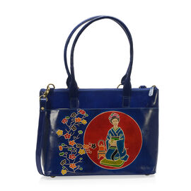 Japanese Art Collection 100% Genuine Leather Dark Blue and Multi Colour Embossed Japanese Lady with